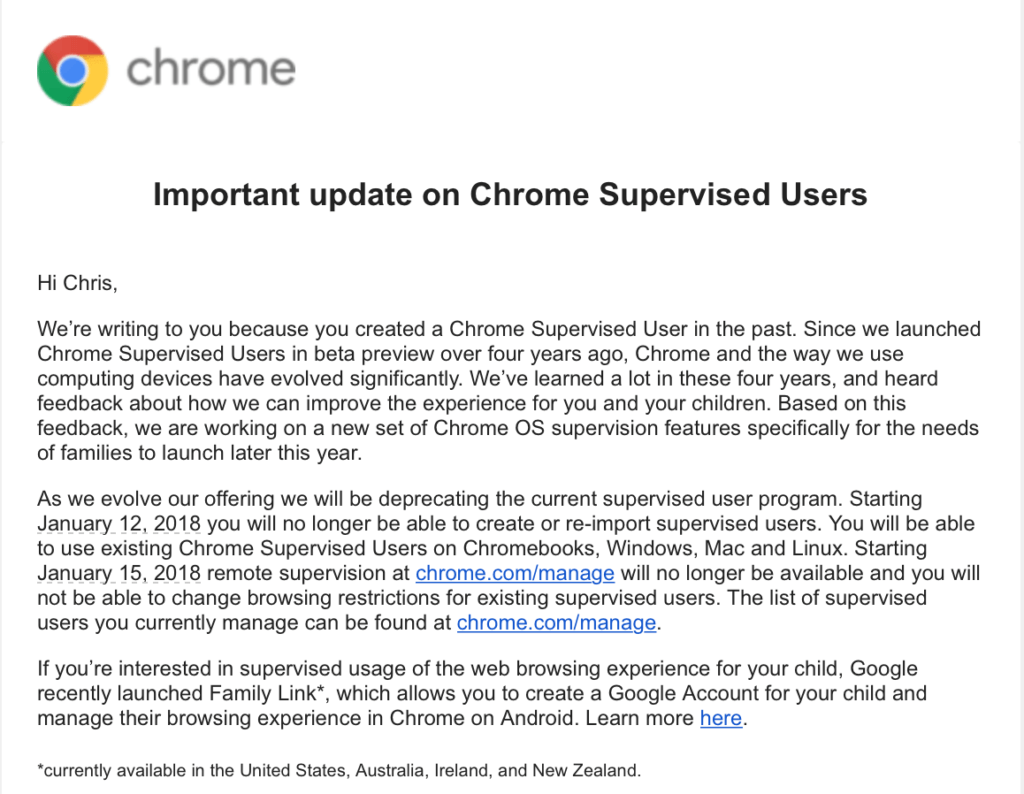 Google Supervised Users