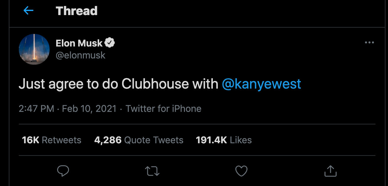 Elon Musk Kanye West Clubhouse