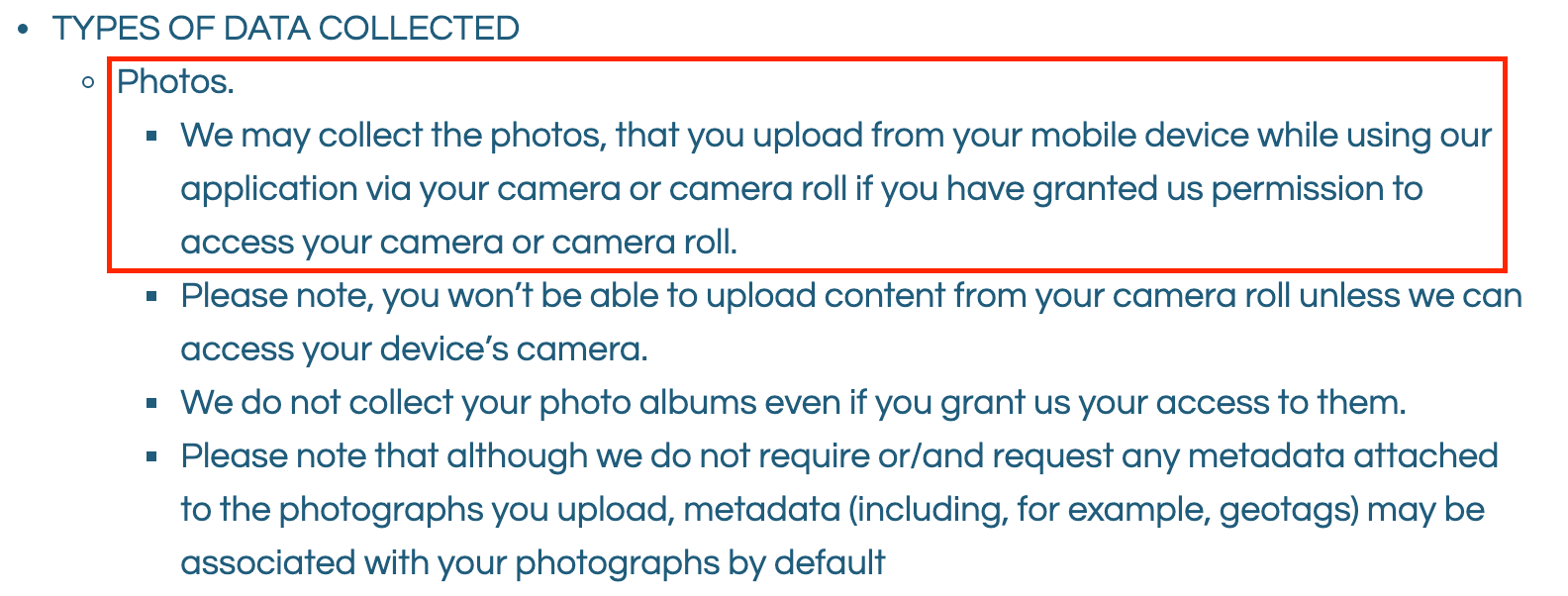 Screenshot from Voila App Privacy Policy